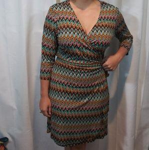 Emma & Michele zig zag wrap dress. Large